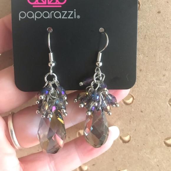 Iridescent drop earrings w/purple & oil spill